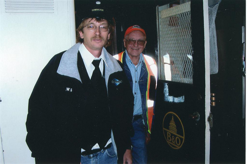 Two Generations Of Railroaders: The Stannards, Don Jr.and Don Sr. are seen here ready to work the same train as Conductor & Trainman during the summer 2006 season.