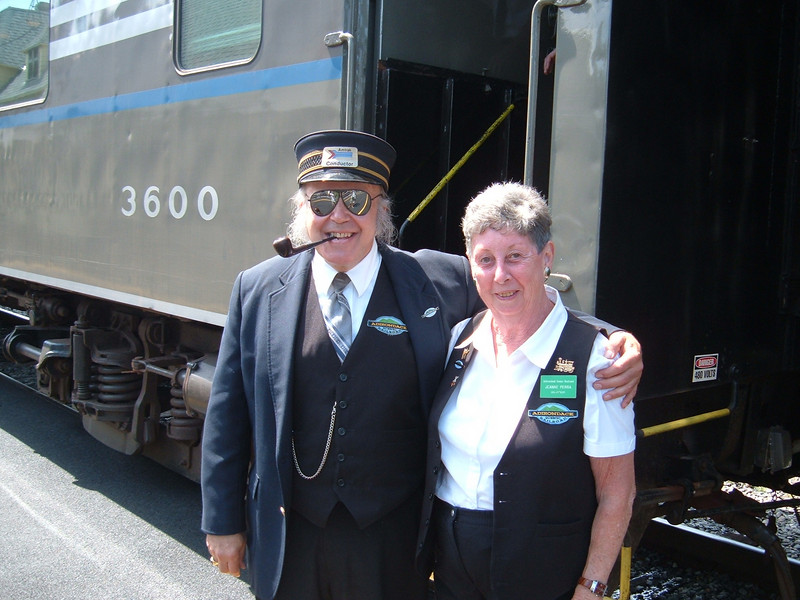 Adirondack's Friendly Crews: All crews were friendly. Here Bill and Jean greet passengers on the Utica train.