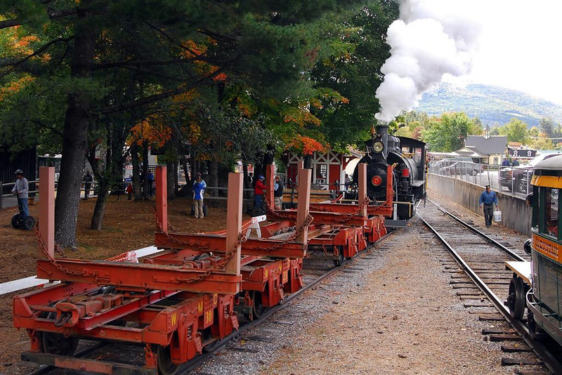 Pushing log cars.