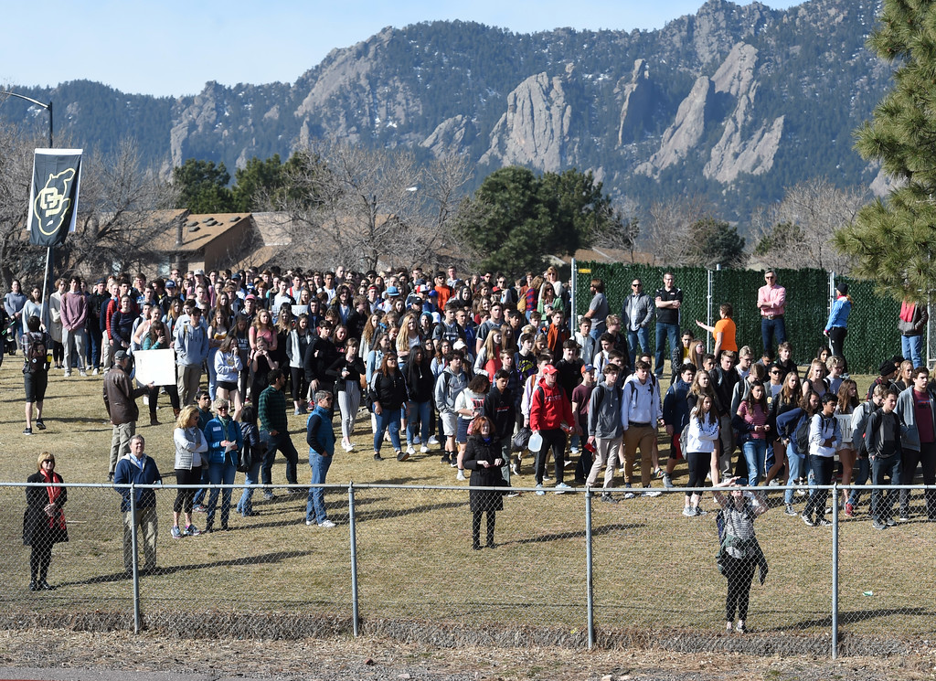. Hundreds of students walk out of school at Fairview High School in Boulder. Students at schools across Boulder County and Broomfield walked out of class around 10 this morning as they took part in the nationwide protest of gun violence on the one-month anniversary of the massacre at a high school in Parkland, Fla., that left 17 dead. Cliff Grassmick  Photographer  March 14, 2018