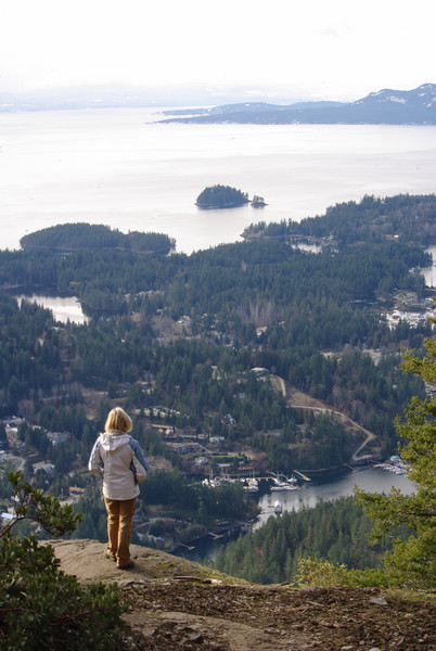 Looking south over the townsite of Madeira Park, across Francis Peninsual and across Malaspina Strait to Pt Upwood on Texada Island.  Vancouver Island is in the distance.