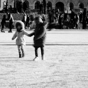 Girls playing on the ice
