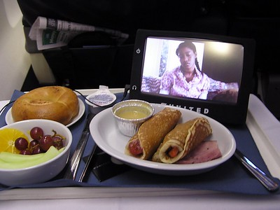 Breakfast and a movie.  Getting upgraded is the only way to go.