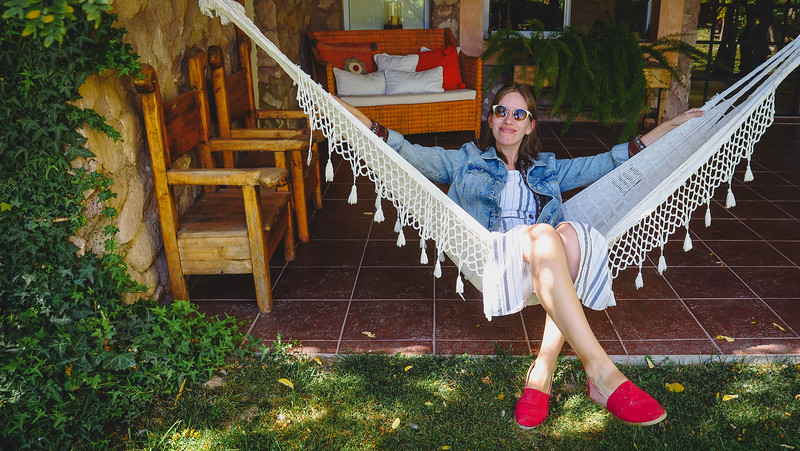 Lounging on the hammocks at the boutique hotel