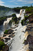 The Iguazu Falls and river gorge as viewed from the Argentinian side, South America.