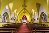 The Iglesia de la Merced Church interior sanctuary in downtown Ushuaia, Argentina, South America.