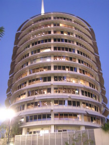 Most of my trips start very early in the morning with a drive from my house to the airport.  This trip started with a night on the town in Los Angeles.  We parked in the shadow of the famous Capitol Records building.