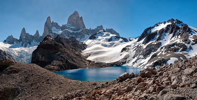 Panoramic View over Laguna de los Tres and the Mt. Fitz Roy