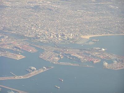 As we made our journey east, we flew over Long Beach, California.