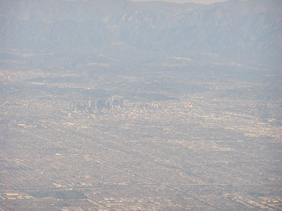 That's the main part of downtown Los Angeles in the distance.  Did you know that LA was ringed in mountains.
