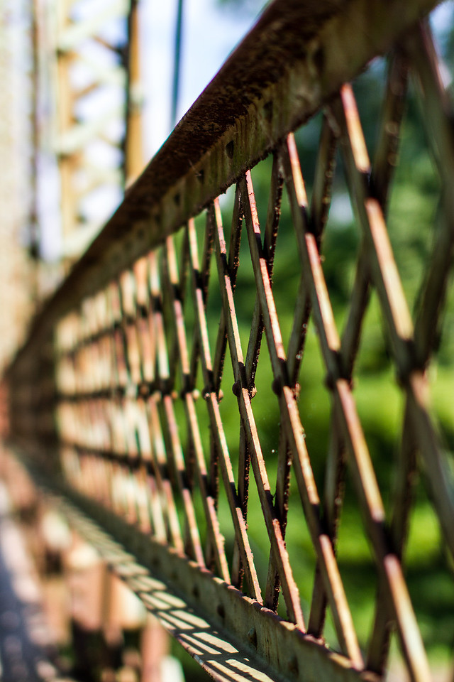 Steel lattice Railing on a condemned bridge over the Olentangy river Ohio