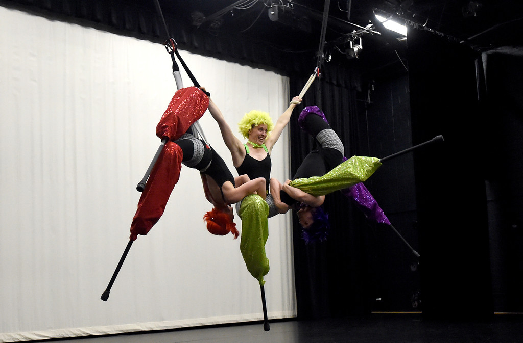 . Frequent Flyers Arial Dancers Laura Burgamy, left, Alysha Perrin and Danielle Hendricks perform on stilts during a rehearsal for Aerial Street View on Monday at the Dairy Center for the Arts in Boulder. For more photos of the rehearsal go to dailycamera.com Jeremy Papasso/ Staff Photographer 11/06/2017