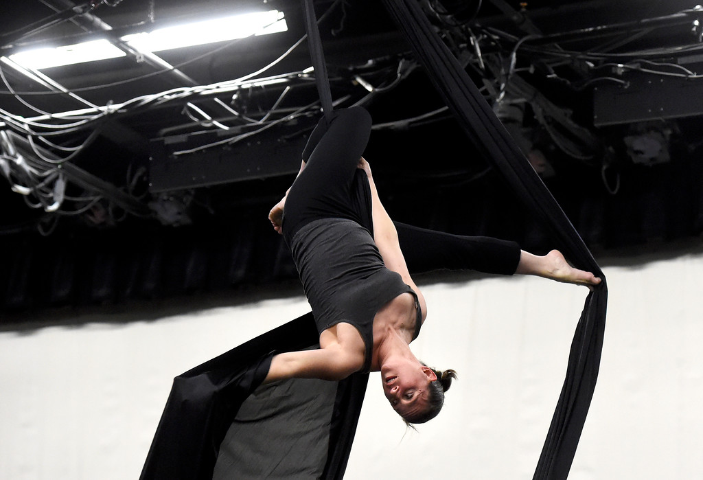 . Frequent Flyers Arial Dancer Valerie Morris performs during a rehearsal for Aerial Street View on Monday at the Dairy Center for the Arts in Boulder. For more photos of the rehearsal go to dailycamera.com Jeremy Papasso/ Staff Photographer 11/06/2017
