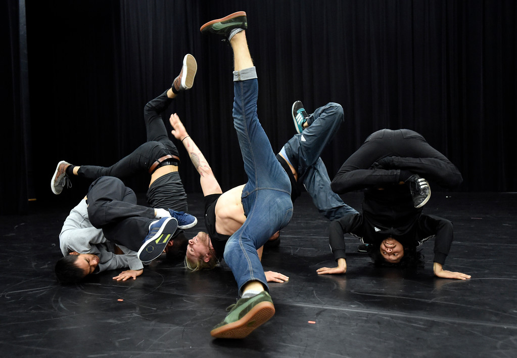 . Block 1750 break dancer Alex Milewski, at center, and others from the group perform during a rehearsal for Aerial Street View on Monday at the Dairy Center for the Arts in Boulder. For more photos of the rehearsal go to dailycamera.com Jeremy Papasso/ Staff Photographer 11/06/2017