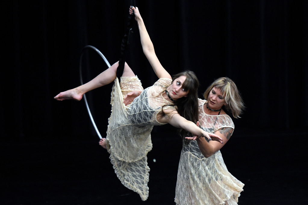 . Frequent Flyers Arial Dancers Jessie Loisel, left, and Angela Delsanter perform during a rehearsal for Aerial Street View on Monday at the Dairy Center for the Arts in Boulder. For more photos of the rehearsal go to dailycamera.com Jeremy Papasso/ Staff Photographer 11/06/2017