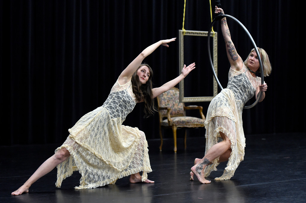 . Frequent Flyers Arial Dancers Angela Delsanter, at right, and Jessie Loisel perform during a rehearsal for Aerial Street View on Monday at the Dairy Center for the Arts in Boulder. For more photos of the rehearsal go to dailycamera.com Jeremy Papasso/ Staff Photographer 11/06/2017