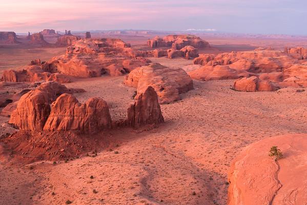 Sunset from Hunt's Mesa. Monument Valley Navajo Tribal Park, AZ