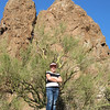Brianna at Superstition Mountain; we climbed Treasure Loop Trail
