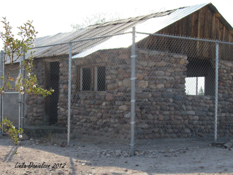 And old stone house, assuming from pioneer days, at Park of the Canals, Mesa AZ