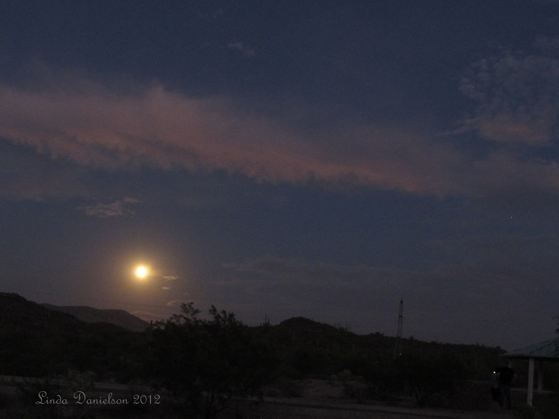 Blue Moon rising near Superstition Mountains