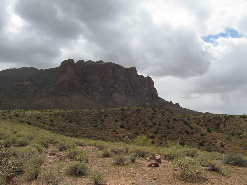 Superstition Mountains with clouds