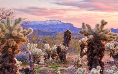 Snow Capped Superstition Mountains at Sunset