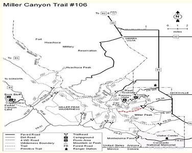 Miller Canyon Trail in the Huachuca Mountains near Sierra Vista