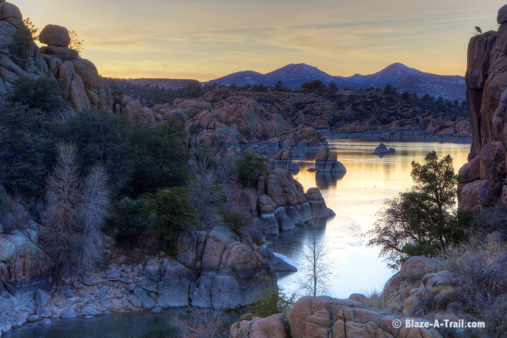 Hiking Watson Lake Loop Trail at Sunset (January 2016)