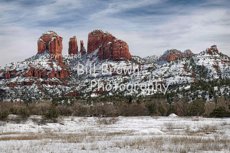 Cathedral Rocks with Snow
