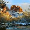 Cathedral Rocks,  Late afternoon after a rare snowfall - Sedona