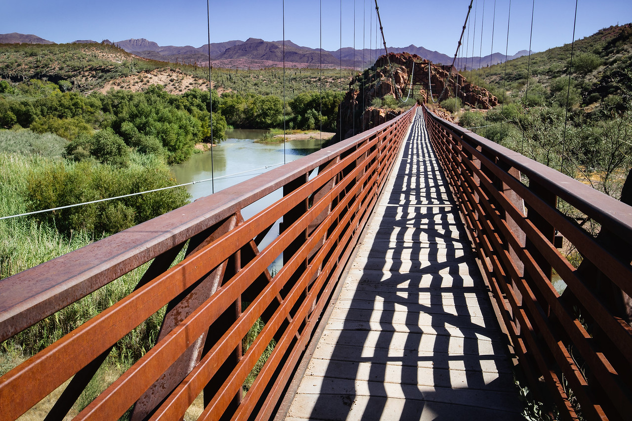 Replica Sheep Bridge crossing the Verde River at Red Point.