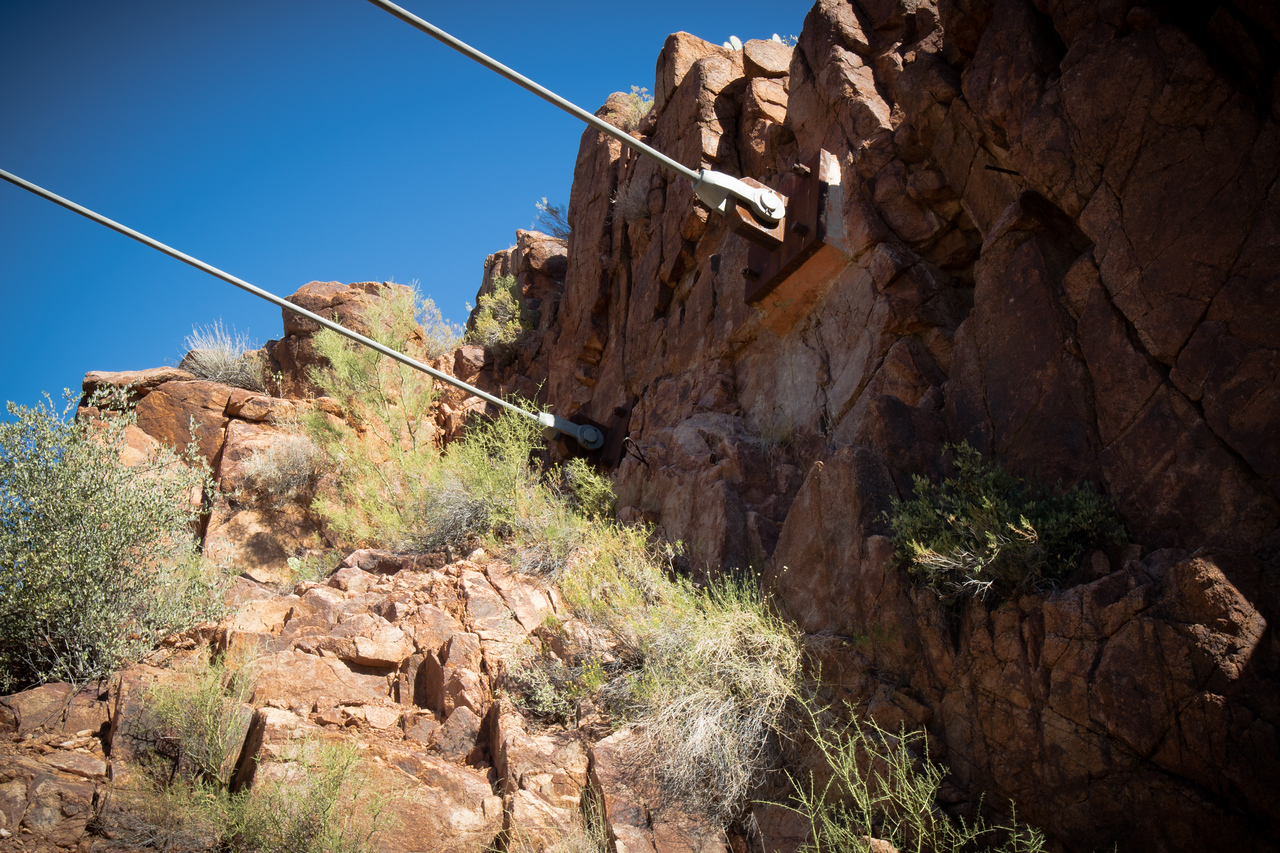 Suspension cables anchored into rock at Red Point