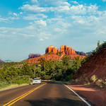 Scenic road to Cathedral Rock in Sedona. Arizona, USA.