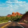 Scenic road to Cathedral Rock in Sedona. Arizona, USA.