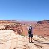 A man enjoying beautiful view on hiking trip.