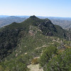 A view of the lookout and ridgeline while decending from the summit.