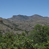 Looking west to Atascosa Lookout (l) and the slightly higher Atascosa Peak (r) from near Pena Blanca Lake.