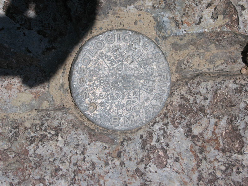 Benchmark on the north peak.