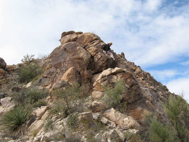 Chris descends the ridge.
