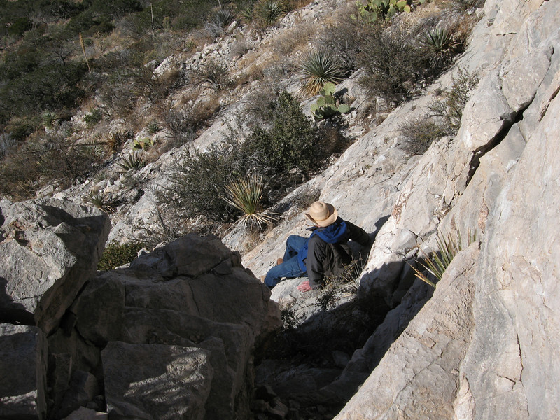 Downclimbing the cliff band.