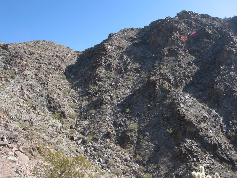 Another look back at the drainage leading to the second saddle.  The summit is at the upper right.