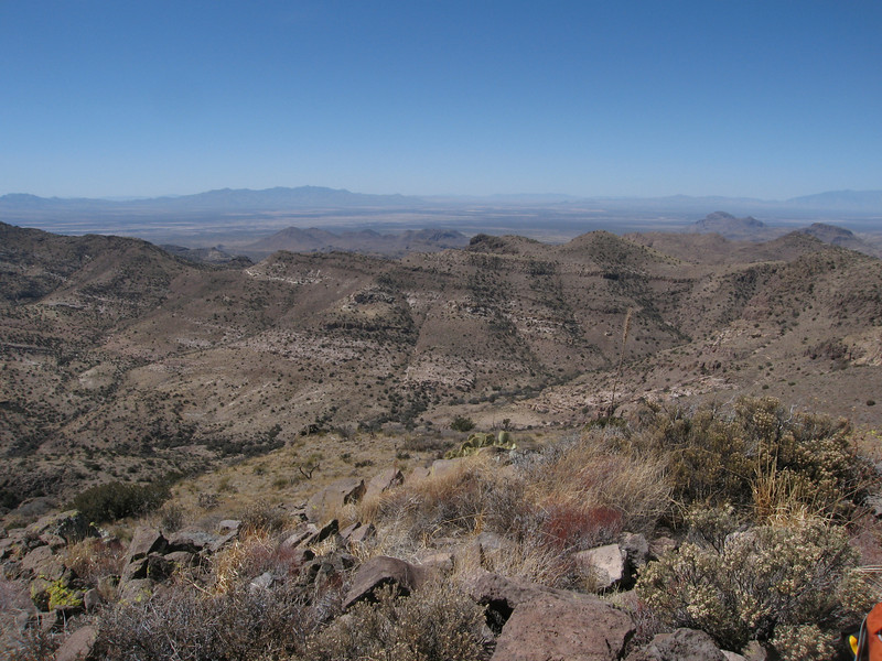 View west with Dos Cabezas in the background.