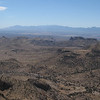 Kinda hard to see.  Looking south, left to right:  Portal Peak, Silver Peak, Chiricahua Peak, Cochise Head.