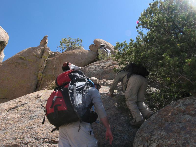 Starting up the rock ramp.