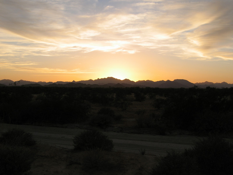 The sun sets over the Cabeza Prieta Mtns.