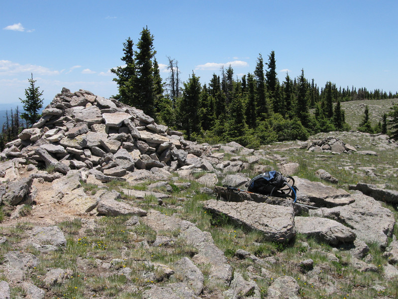 Rather large summit cairn on Mt. Baldy.