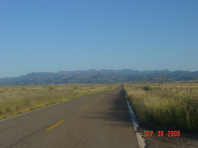 The Chiricahua Mountains as seen from the northwest along Hwy 186.