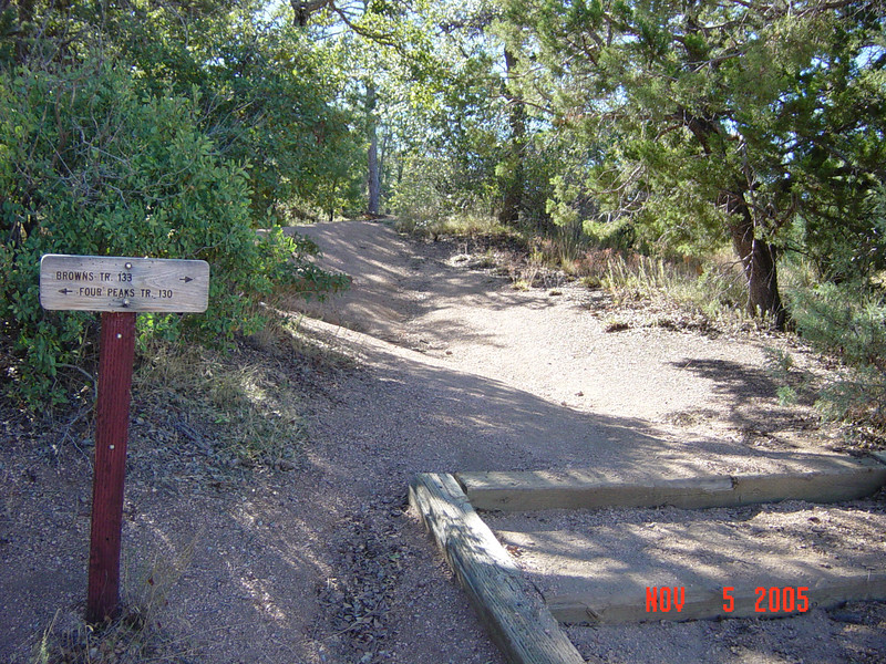 Browns Trail sign at Lone Pine Saddle TH