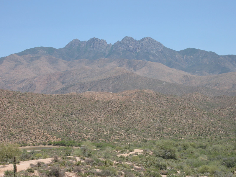 Four Peaks as seen from the west near Hwy 87.  Browns Peak is the farthest peak to the left (north).