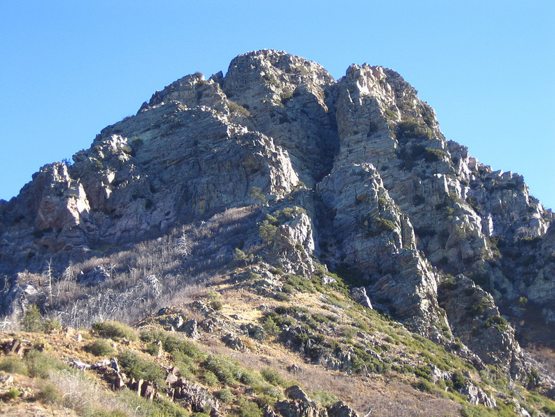 Browns Peak from the saddle.  The route goes up the long chute that cuts the peak in two.